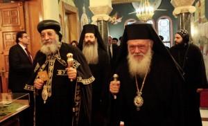 Коптський патріарх Тавадрос у Греції. Фото: solun.gr